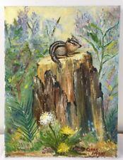 12 x 16 Oil Painting Wild Chipmunk on Tree Stump w Wildflowers & Foliage signed