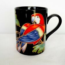 "FITZ & FLOYD ""JUNGLE PARROTS""FINE PORCELAIN MUG CUP DISCONTINUED PATTERN NEW"