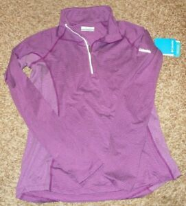 NEW COLMBIA Women's Size Sm Clearlake Purple Striped 1/2 Zip LS Shirt Top NWT