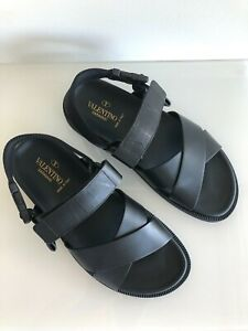 100% Auth. VALENTINO GARAVANI Black Calfskin Sandals Current Season RRP $1190 42