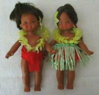 "Rare Vintage 6"" Hawaiian Children Boy & Girl Hula Dancers with Costumes"