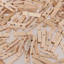 100pcs Natural Mini Wooden Pegs Clothes Pins Clip Embellishment Craft 25*3mm