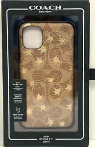"""OEM Coach New York Case for iPhone 11 6.1""""  Brown / Gold Foil Stars NEW"""