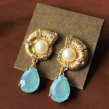 NUEVO AZUL CARCASA Pavé Cristal Pendientes de Gota Perla Perforado mujer de EEUU