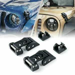 Xprite Hood Latches Catch Kit Buckle Trim for 07-20 Jeep Wrangler JK JKU JL JLU