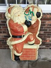 "RARE Vintage PLASTIC LIGHT SANTA WALL HANG 51"" Store Display Decoration 1950's"
