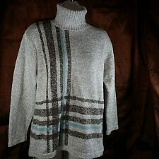 Liz Claiborne Sweater Size S Petite Turtleneck Heavy Knit Beige w/Blue Stripe