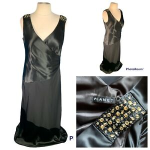 Ladies Black Evening Dress Size 14 (16) PLANET Party Zip Cruise Jewelled 🌹