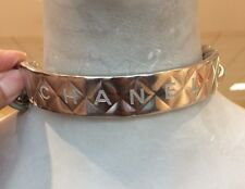 SALE $1925+ BNIB CHANEL Silver Quilted Metal Slogan CC Runway Chain ID Necklace