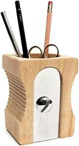 High Quality Wooden Desk Organiser - NOVELTY WOOD PENCIL SHARPENER POT