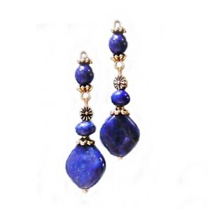Earrings, Lapis Lazuli and antique gold, long drop, choose clip on or pierced