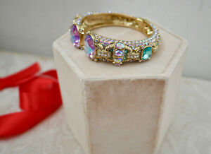 New! $155 HEIDI DAUS Gorgeous Rocks Crystal Accented Cuff Bracelet S/M