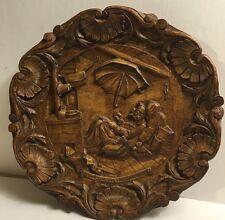 """Vintage German """"Carl Snitzweg-Der Arme Poet"""" Hand Carved 3D Wood Resin Plate 9""""D"""
