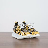 VERSACE 995$ New Women's Chain Reaction 2 Sneakers In White, Black & Yellow