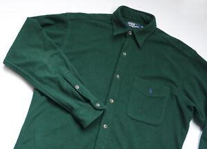 Ralph Lauren FLEECE Polo shirt mens Long Sleeve top size M Medium green USA