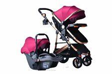 3 in1 Bebé Recién Nacido Cochecito Sillita de asiento de coche sistema de viaje Cochecito Buggy