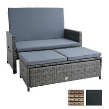 Polyrattan Gartensofa Bank Couch Gartenmöbel Set Hocker Lounge Set Sitzgruppe