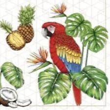 4 x paper napkins for decoupage, crafts, scrapbooks - Parrot with tropical motif