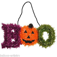 Haunted Halloween Tinsel BOO Pumpkin Party Hanging Plaque Decoration