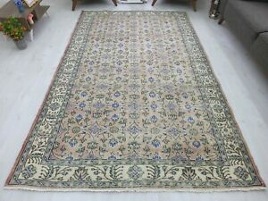 Oushak Rug 5.7x9 Turkish Saloon Antique Anatolian Oushak Old Vintage Carpet Wool