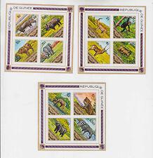 guinea 1975 fauna,set,three s/s MNH           q469