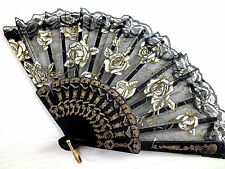 BLACK GOLD ROSE LACE HAND FAN DANCE BIRTHDAY FANCY CHINESE SPANISH PROM PARTY