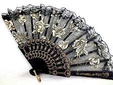 Ventilador de mano de Encaje Negro Oro Rosa Baile de graduación Fiesta de Cumpleaños de fantasía chino español