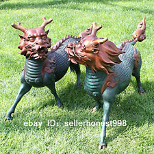 China painted Bronze Dragon Kirin kylin Brave troops Art Deco Sculpture pair