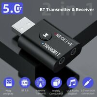 Bluetooth 5.0 Transmitter Receiver 2 IN 1 Wireless Audio 3.5mm USB Aux Adapter