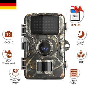 12MP 1080P Wildkamera Jagdkamera 120° Fotofalle IR Nachtsicht mit SD Karte E9R1
