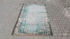 Area Rug,5x8 ft Turkish,155x244,Oversize rug, Vintage, Oushak,Handmade,Wool blue