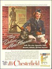 1942 WW2 era Ad CHESTERFIELD Cigarettes Uniformed Woman Harley Davidson 081218