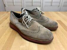 Cole Haan Lunargrand Wingtip Suede Tan Brown Dress Shoes Size 7 Men's