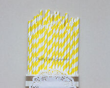 50 Bright Yellow Striped Paper Straws/Bumble Bee Decor/Pink Lemonade/Tableware