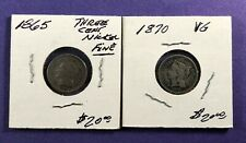 1865 & 1870 -Three Cent Nickels ~ 3CN ~ (2 coins)