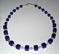 Elegant Blue Murano Glass Cube and Clear Crystal Necklace