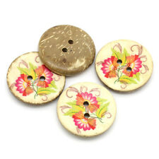 Pack of 10 Pink Flower Design Coconut Shell  Sewing Craft Buttons 30mm
