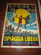 MANIFESTO spiaggia libera,mondaini Vianello Tieri Girolami 1966