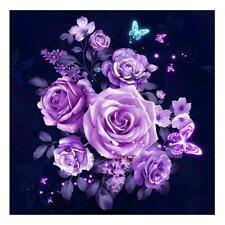 DIY 5D Purple Flowers Diamond Painting Embroidery Cross Crafts Stitch Kit Decor