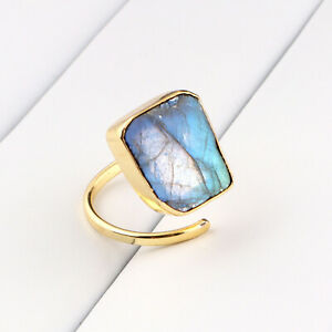 Natural Spectrolite Rainbow Labradortie 24k Gold Plated Adjustable Ring Jewelry