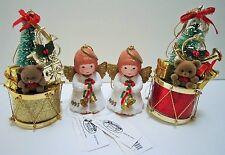 Vintage The San Francisco Music Box Company Christmas Tree Angel Ornaments Lot 4