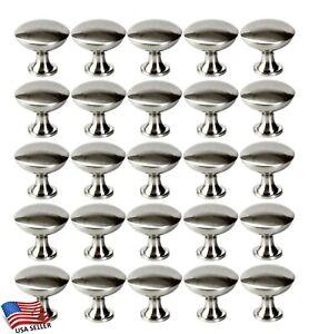25 Pack Round Mushroom Knobs Pull Kitchen/Bathroom Cabinet Hardware Brush Nickel