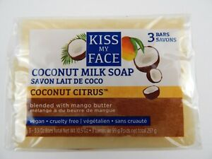 3 Bar Count, Kiss My Face Pure Coconut Milk Soap Bar with Mango Butter, 3.5 oz,