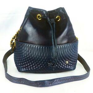 BALLY Quilted Lumbskin Leather Vintage Drawstring Shoulder Bag Purse Black Navy