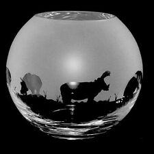 *HIPPO GIFT*  15cm Boxed CRYSTAL GLASS GLOBE VASE with HIPPOPOTAMUS FRIEZE