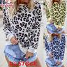 Women Leopard Print Long Sleeve T-shirt O Neck Casual Blouse Autumn Tops Fleece