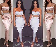 Mujer 2 Piezas Set Fiesta Maxi Vestido Ceñido Cristal Falda Brillante Corto Top