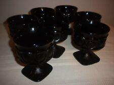 7 VINTAGE BLACK GLASS SHERBET GLASSES TIFFIN ?