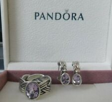 "RARE RETIRED PANDORA 925 PINK AMETHYST ""TIED TOGETHER"" RING sz 7/54 & EARRINGS"