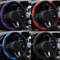 """14.5-15"""" Universal Carbon Leather Car Easy Install Steering Wheel Cover 38cm"""